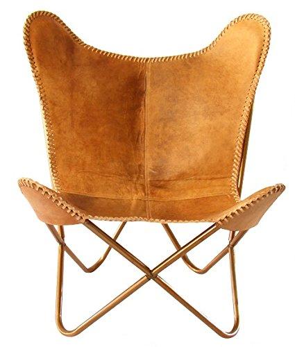 SKYCARTE-Deluxe-NuBuck-Echt-Leder-Butterfly-Sessel-Schmetterling-Stuhl-Farbton-Vintage-Braunbeige-0