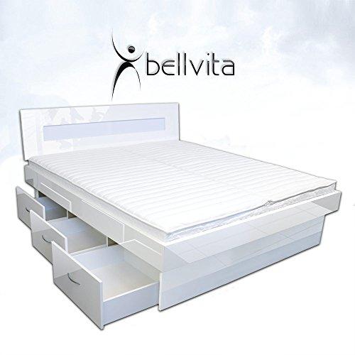 SONDERAKTION-bellvita-Mesamoll-II-Wasserbett-mit-Schubladensockel-in-Komforthhe-Bettumrandung-mit-fachgerechtem-Aufbau-ALLE-Gren-frei-whlbar-NEU-Hochglanz-weiss-180cm-x-220cm-wei-hochglanz-0