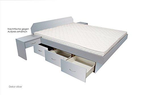 SONDERAKTION bellvita Wasserbett mit Schubladensockel in Komforthöhe, Bettumrandung inkl. Aufbauservice, silber, 160 cm x 200 cm