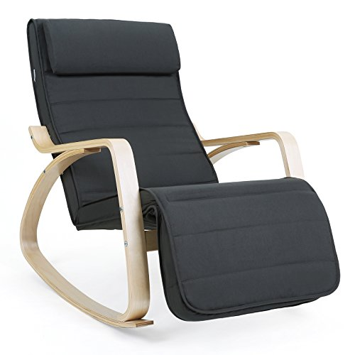 SONGMICS Schaukelstuhl Relaxstuhl 5-fach verstellbares Fußteil Belastbarkeit 150 kg grau LYY10G
