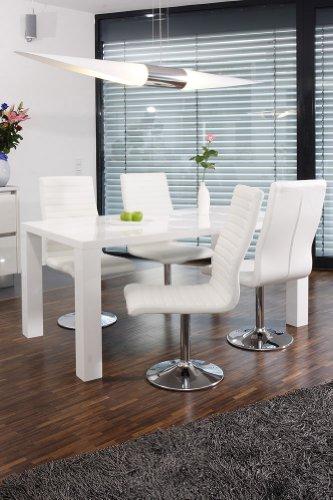 SalesFever Essgruppe Tisch 140x90 cm weiß mit 4 Stühlen Lio aus Kunstleder Luke Stühle weiß