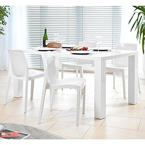 SalesFever Essgruppe Tisch 200x100cm mit 8 Design Stühlen Luke weiß matt Sari