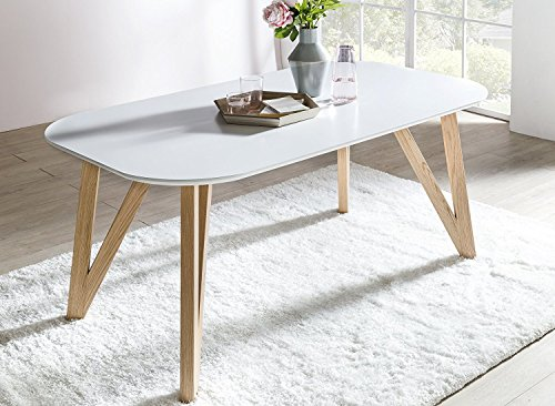 SalesFever® Esszimmertisch Aino, Küchentisch in matt-weiß, 140 x 90 cm, furnierter Esstisch, pflegeleichter & abgerundeter Holz-Tisch, FSC® zertifiziert