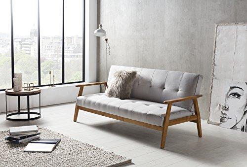 SalesFever® Schlafsofa, Sofa-Bett, Klappsofa im Hellgrauem Stoff, abgestepptes Design, pflegeleichte Oberfläche aus 100% Polyester mit FSC® 100% zertifiziertem Holzgestell