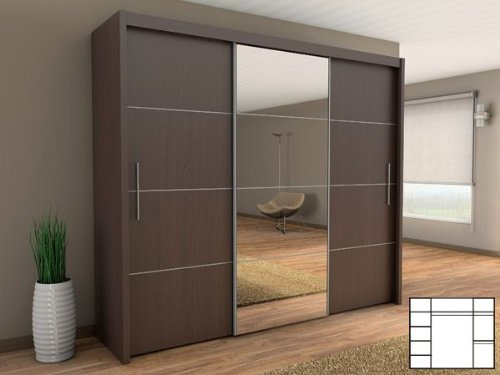 schiebet renschrank kleiderschrank mit spiegel 250 cm. Black Bedroom Furniture Sets. Home Design Ideas