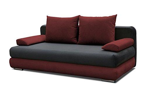 Schlafsofa Celino in grau / rot mit Bettfunktion und Staukasten - Abmessungen: 205 x 95 cm (B x T)