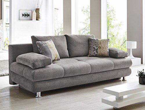 Schlafsofa Gwenn 205x100 cm Mikrofaser grau Sofa Couch Bettkasten Funktionssofa