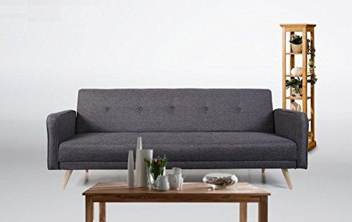 Schlafsofa oslo stoff fuscous grau sofa couch for Wohnlandschaft grau stoff