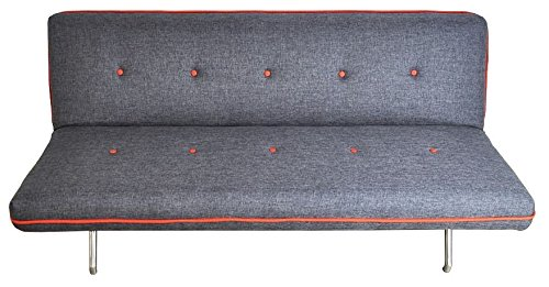 Schlafsofa Schlafsofa Sofa Couch Stoff Grau-Orange merliert