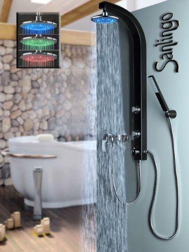 Schwarzes LED Duschpaneel Duschsäule mit Massagedüsen von Sanlingo