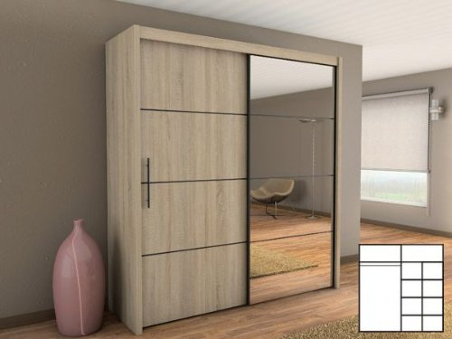 schwebet renschrank kleiderschrank mit spiegel 200 cm sonoma eiche m bel24. Black Bedroom Furniture Sets. Home Design Ideas