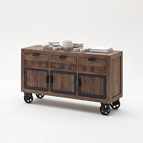 Sideboard-Finca-auf-Rollen-Vintage-Shabby-Esszimmer-Kommode-Vitrine-Kiefer-Massivholz-Mbel-0