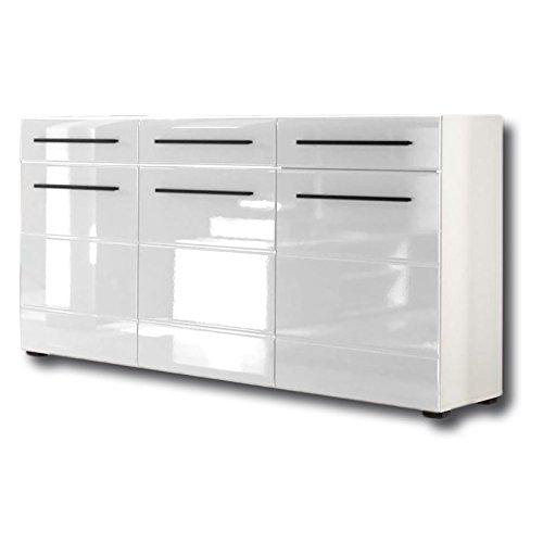 Sideboard-Kommode-Anrichte-CLARA-150x86x42-cm-in-wei-Hochglanz-mit-3-Tren-und-3-Schubladen-0