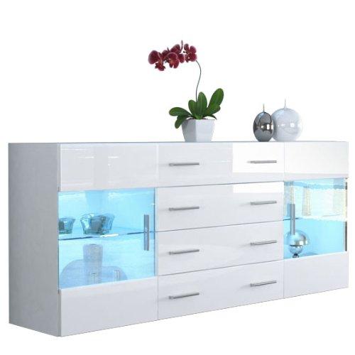 Sideboard Kommode Bari V2 in Weiß / Weiß Hochglanz