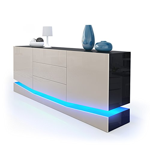 Sideboard-Kommode-City-Korpus-in-Schwarz-Hochglanz-Fronten-in-Sandgrau-Hochglanz-inkl-LED-Beleuchtung-0