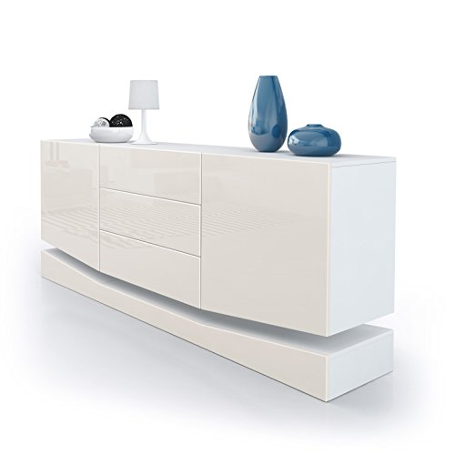 Sideboard Kommode City, Korpus in Weiß matt / Fronten in Creme Hochglanz
