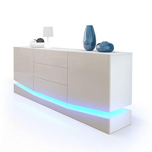 Sideboard-Kommode-City-Korpus-in-Wei-matt-Fronten-in-Sandgrau-Hochglanz-inkl-LED-Beleuchtung-0