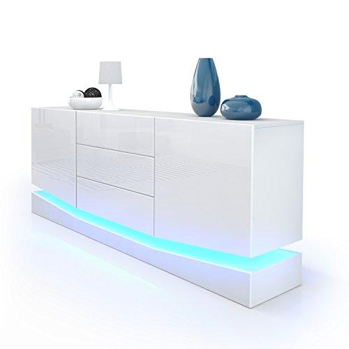 Sideboard Kommode City, Korpus in Weiß matt / Fronten in Weiß Hochglanz inkl. LED Beleuchtung