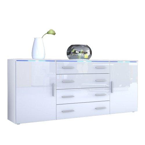 Sideboard Kommode Faro V2 in Weiß / Weiß Hochglanz