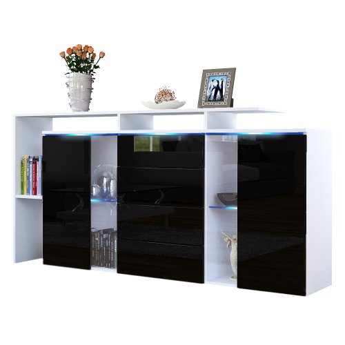 sideboard kommode lissabon in wei matt schwarz. Black Bedroom Furniture Sets. Home Design Ideas
