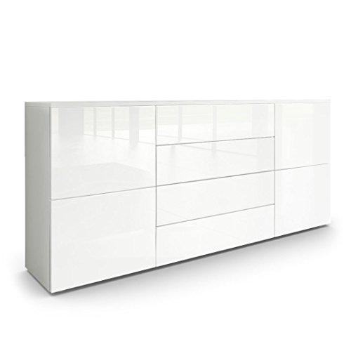 Sideboard Kommode Rova in Weiß matt / Weiß Hochglanz / Weiß Hochglanz
