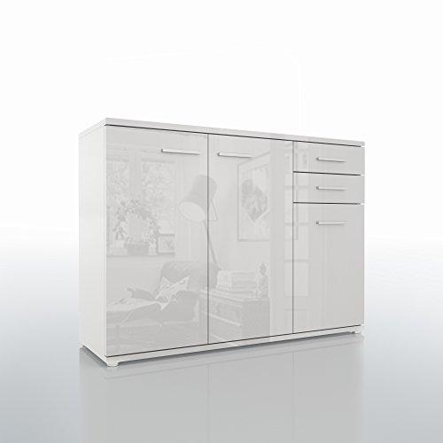 Sideboard-Kommode-Schrank-Anrichte-Mehrzweckschrank-Highboard-Hochglanz-Weiss-0