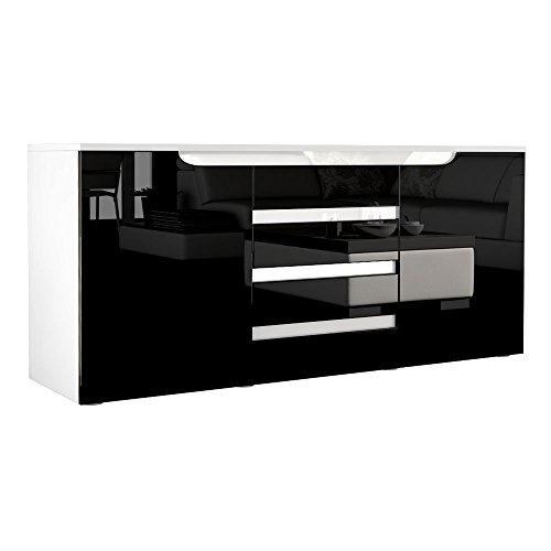 sideboard kommode sylt in wei schwarz hochglanz mit absetzungen in wei hochglanz m bel24. Black Bedroom Furniture Sets. Home Design Ideas