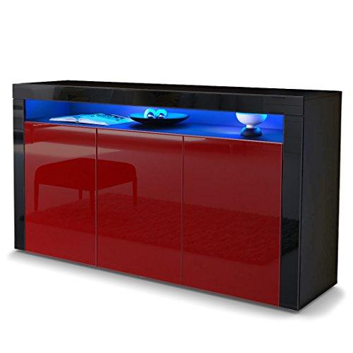 sideboard kommode valencia in schwarz matt bordeaux. Black Bedroom Furniture Sets. Home Design Ideas