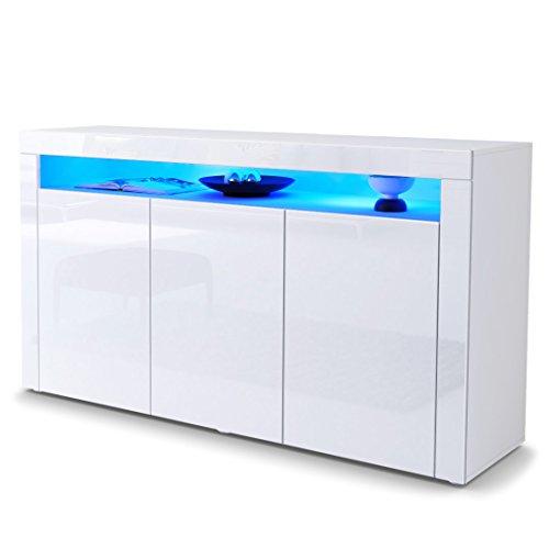 Sideboard Kommode Valencia in Weiß matt / Weiß Hochglanz / Weiß Hochglanz