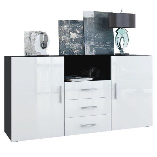 sideboard skadu in schwarz wei hochglanz m bel24. Black Bedroom Furniture Sets. Home Design Ideas