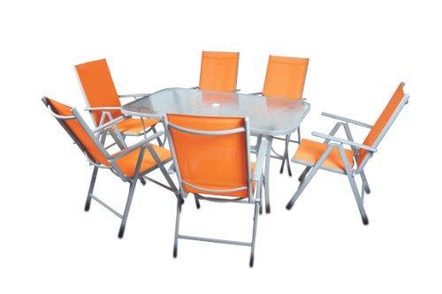 Sitzgarnitur Gartengarnitur Tisch Stühle Orange Glastisch Sicherheitsglas Alu