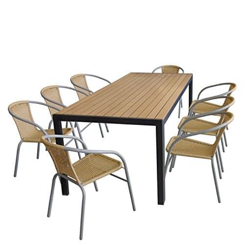 Sitzgruppe-Gartentisch-Aluminiumrahmen-Schwarz-Polywood-Tischplatte-Braun-205x90cm-8x-Bistrostuhl-stapelbar-Rattanbespannung-Beige-Stahlrohrgestell-Grau-0