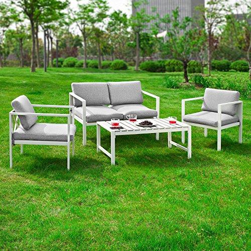 SoBuy® OGT06 Sitzgruppe aus Alu. Sitzgarnitur Gartengarnitur Lounge Gartenset Essgruppe Gartenmöbel Sofa inkl. Kissen,
