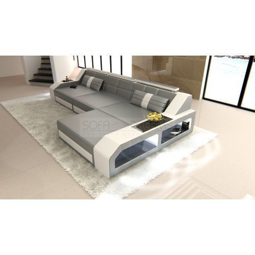 sofa arezzo l form grau weiss m bel24. Black Bedroom Furniture Sets. Home Design Ideas