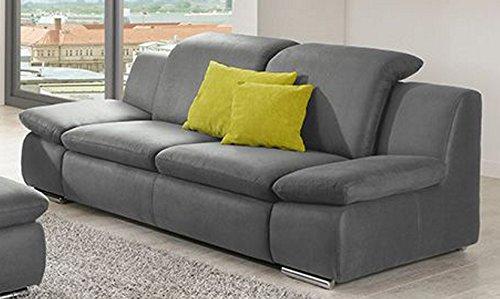 Sofa LA ISLA grau 2 Sitzer Couch Lederoptik Polstergarnitur Bequemsofa Zweisitzer günstig