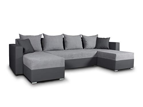 Sofnet Wohnlandschaft mit Schlaffunktion Beno - U-Form Couch, Ecksofa mit Bettkasten, Couchgranitur mit Bettfunktion, Polsterecke, Big Sofa, Polstergarnitur, Wohnzimmer