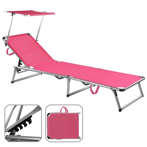 Sonnenliege Alu Sylt pink - Liege Gartenliege Strandliege Freizeitliege