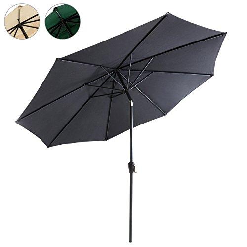 Sonnenschirm Ø 290cm Stahl Gestell UV Schutz UPF 50+ Gartenschirm Marktschirm mit Kurbel und neigbar Schirmstoff grün wasser- und schmutzabweisend Höhe 230 cm Farbe wählbar beige anthrazit grün