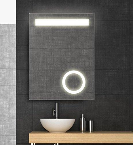Spiegel mit LED Beleuchtung und Kosmetikspiegel, 60x80 cm, Badspiegel, kaltweiß