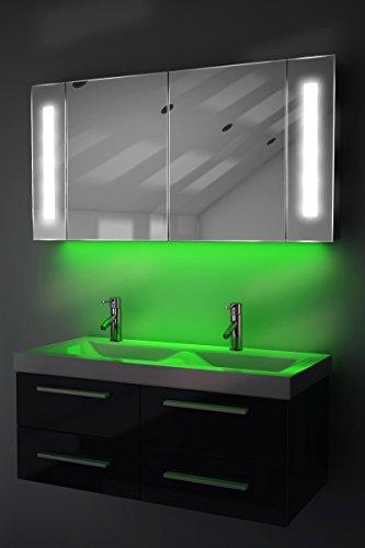 Spiegelschrank Bad Ambient Raumbeleuchtung, Sensor & Rasiersteckdose k156G