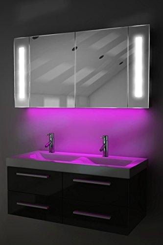 Spiegelschrank Bad Ambient Raumbeleuchtung, Sensor & Rasiersteckdose k156P