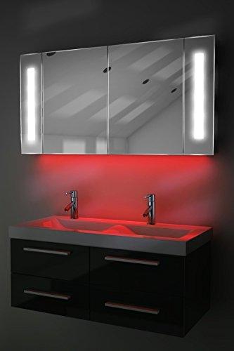 Spiegelschrank Bad Ambient Raumbeleuchtung, Sensor & Rasiersteckdose k156R