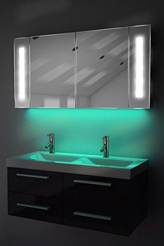 Spiegelschrank Bad Ambient Raumbeleuchtung, Sensor & Rasiersteckdose k156T