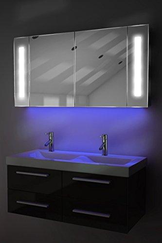 Spiegelschrank Bad Ambient Raumbeleuchtung, Sensor & Rasiersteckdose k156U