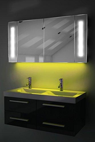 Spiegelschrank Bad Ambient Raumbeleuchtung, Sensor & Rasiersteckdose k156Y
