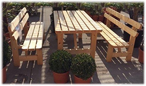 Stabile Holz Sitzgruppe Garten Garnitur 1 Tisch 2 Bänke