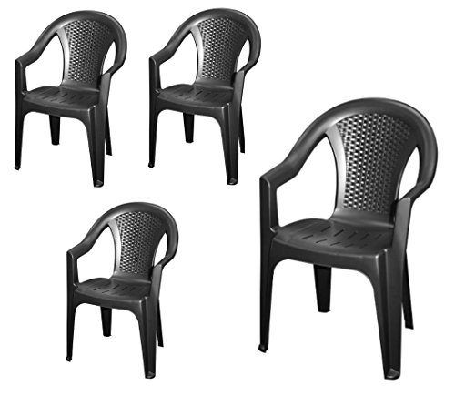 Stapelbarer-Gartenstuhl-in-anthrazit-4er-Set-Monoblock-in-Rattan-Optik-aus-Kunststoff-Stapelstuhl-Kunststoffstuhl-0