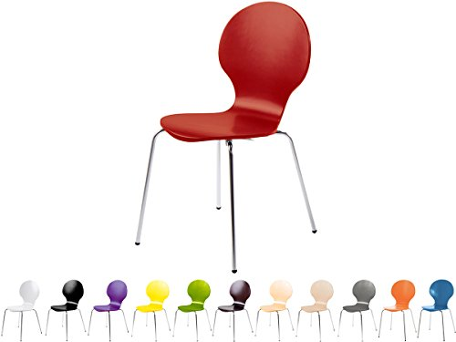 Stapelstuhl Bistrostuhl Stuhl Esszimmerstuhl Küchenstuhl Design Metall Holz stapelbar sehr belastbar Marcus (Dunkelrot)