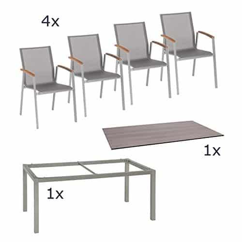 Stern-Gartenmbel-Set-Top-6-teilig-Stapelsessel-und-Tischgestell-aus-Aluminium-mit-Silverstar-Tischplatte-im-Dekor-Tundra-0
