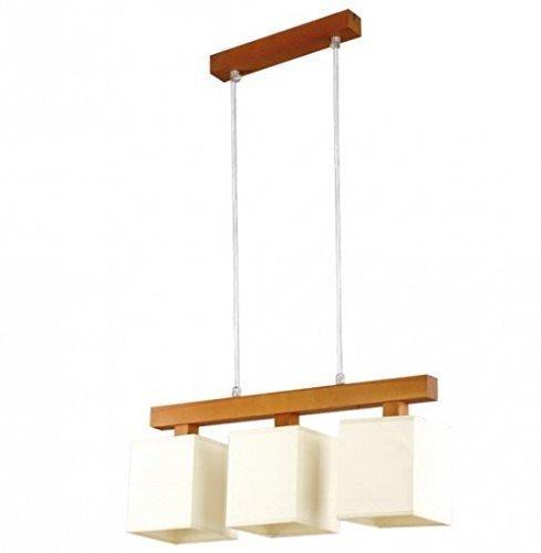 Stoff Hängeleuchte 3-flammig Holz, Erle Pendelleuchte 54cm breit Pendellampe für Wohnzimmer Esszimmer